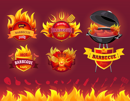 Tasty hot barbecue, BBQ grill party, set of icons, flaming labels with forks and spatulas, BBQ with roast sausages, barbecue utensil and ingredients set