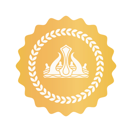 Crown Icon in Circle Closeup Vector Illustration