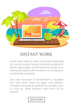 Distant Work Freelance Web Poster, Open Notebook Imagens - 103990325