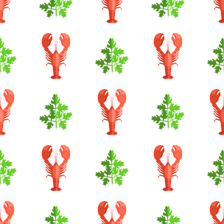 Cryafish and Parsley Pattern Vector Illustration