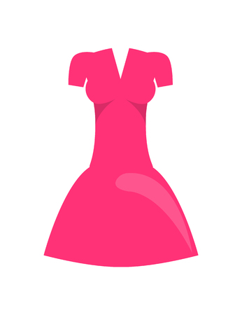 Dress of Pink Color Object Vector Illustration