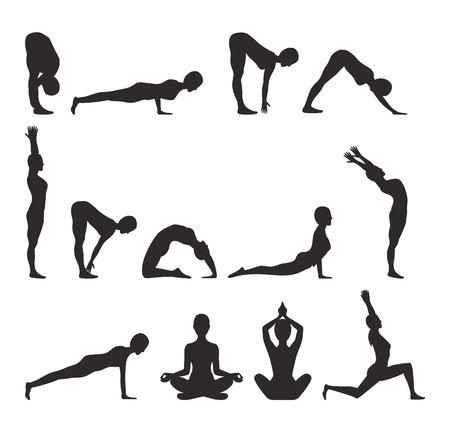 Yoga Pose Collection Silhouette Vector Illustration