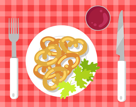 German Pretzels on Pretty Checkered Tablecloth Stock Illustratie