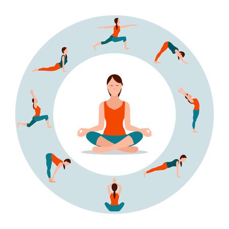 Círculo con iconos femeninos en diferentes posturas de yoga