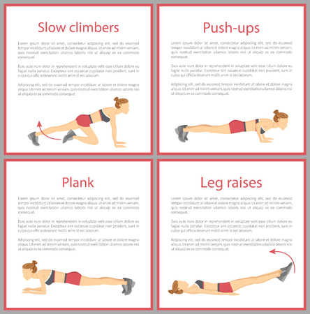 Slow Climbers and Push Ups Set Vector Illustration