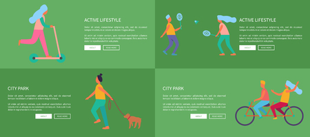 Active Lifestyle and City Park Set of Posters