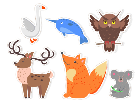 Cartoon Wild Fish, Bird and Animals Collection Illustration