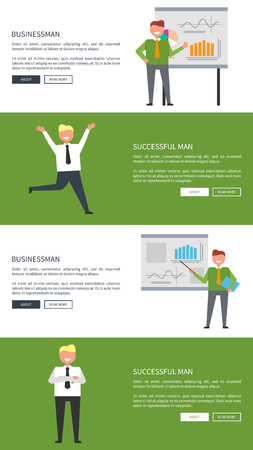 Businessman and Successful Man Posters with Text Illustration