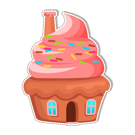 Cupcake House with Chimney On Creamy Roof Vector Vettoriali