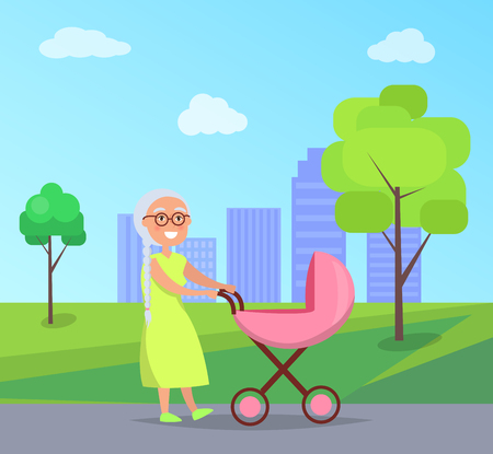 Senior Lady with Trolley Pram Walking in City Park Illustration