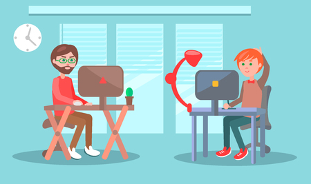 Office Workers or Freelancers at Work Vector