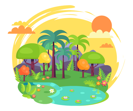 Indian Jungle Full of Green Trees Illustration