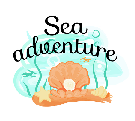 Sea Adventure Poster with Opened Light SeaS hell Standard-Bild - 103990483