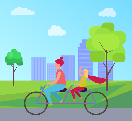 Mother Daughter Riding Bicycle in City Park Vector Illustration