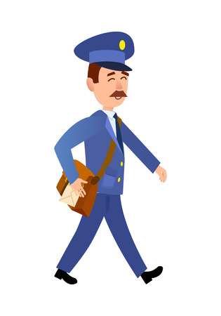 Postman Delivering Mail Isolated Cartoon Vector Çizim