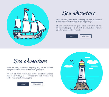 Set of Banners Dedicated to Sea Adventure Ilustrace