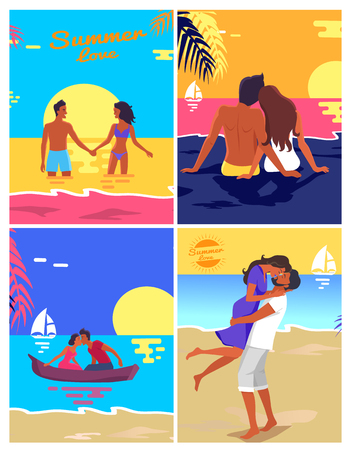 Romantic Young Couple Spending Honeymoon on Beach.