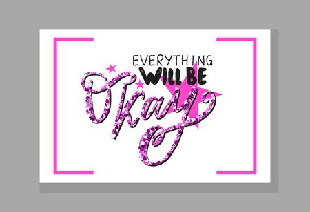Everything Will Be Okay Vector Illustration Çizim