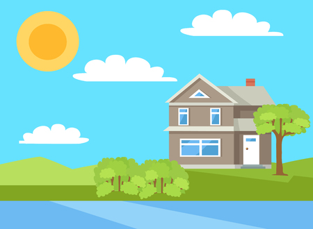 Three Storey House in Rural Countryside Vector Illustration