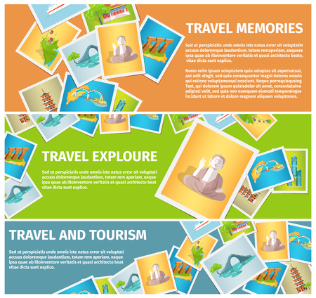 Travel Memories and Tourism Explore Web Banners