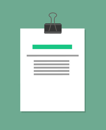 Pinned Document Sample, Color Vector Illustration