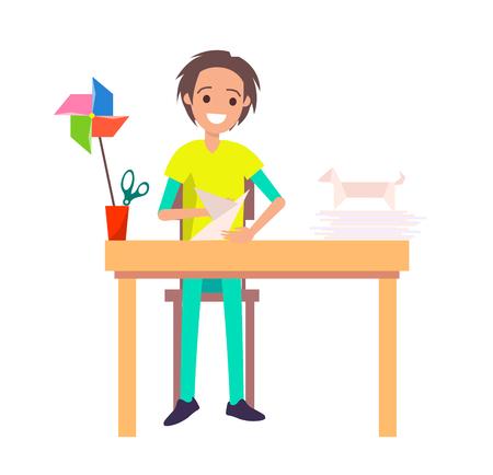 Happy Origami Master, Colorful Vector Illustration