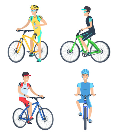 Bicyclists Wearing Costumes Vector Illustration Çizim
