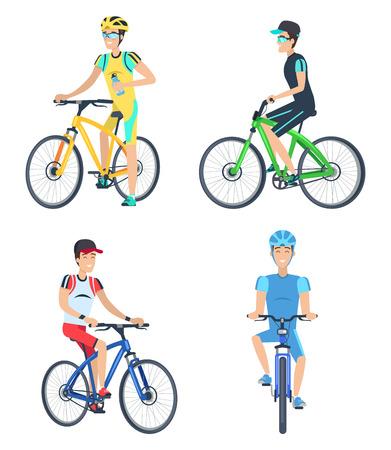 Cyclistes, porter, costumes, vecteur, illustration