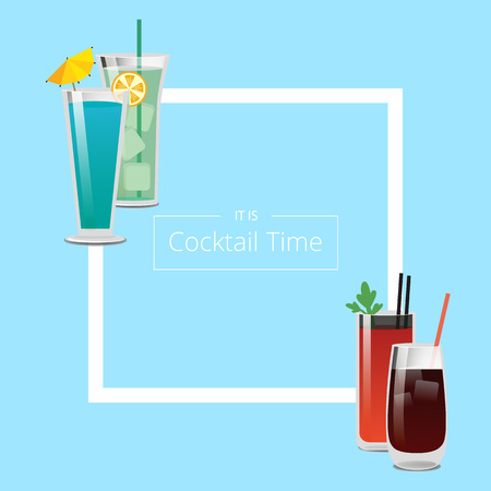 Its Cocktail Time Poster with Square Shape Frame