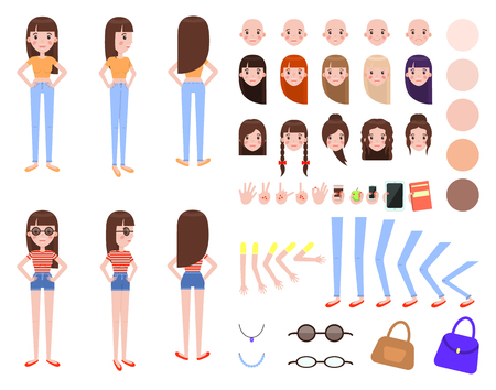 Girl Constructor with Body Parts and Outfits Set Ilustração