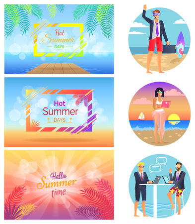 Hot Summer Days Freelance Set Vector Illustration