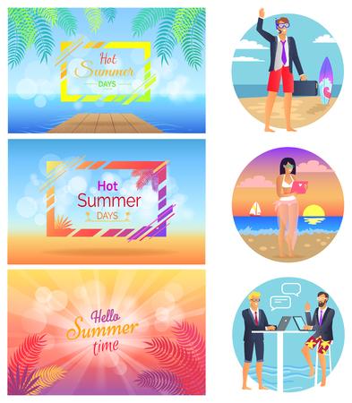 Hot Summer Days Freelance Set Vector Illustration