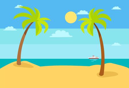 Summer Beach Landscape with Blue Sea, Hot Sand Sky