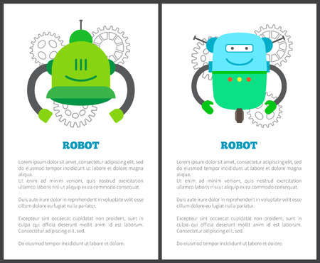 Robot Humanoids Collection Vector Illustration Vectores