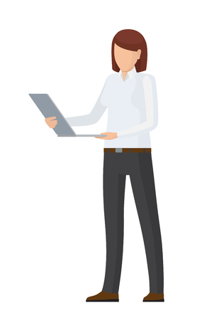 Faceless Character in Formal Clothes with Laptop Banque d'images - 104041019