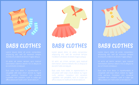 Baby Clothes Set of Posters Vector Illustration 일러스트