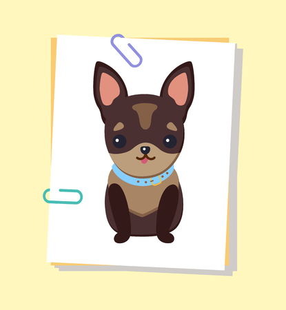 Chihuahua Puppy with Collar Vector Illustration