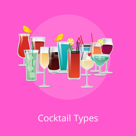 Cocktails Types Poster Summer Drinks Set Vector