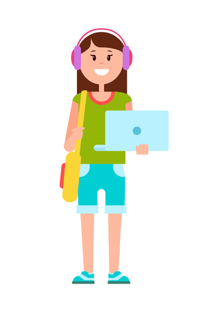 Teenage Girl with Modern Laptop and Headphones