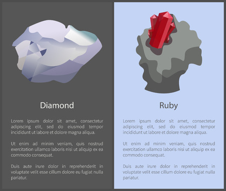 Diamond and Ruby Set of Posters Text Cubic Crystal