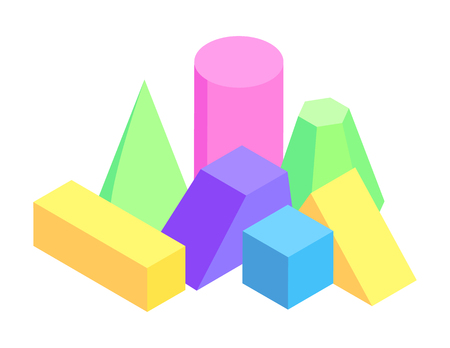 Lot of Colorful Geometric Figures, Varied Prisms