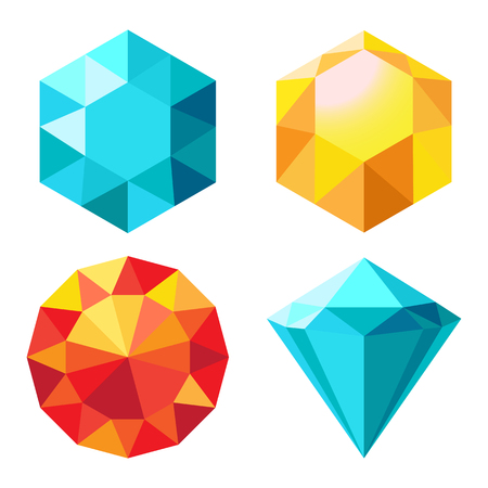 Diamond Orange and Blue Color Vector Illustration