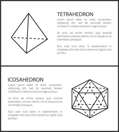 Tetrahedron Icosahedron Set Vector Illustration