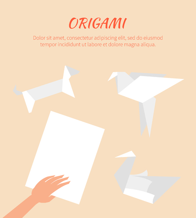 Origami Works, Cute Vector Paper Animals Group Illustration