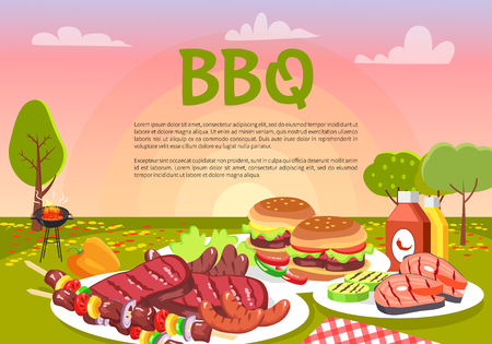 BBQ Picnic on Cute Meadow, Vector Illustration