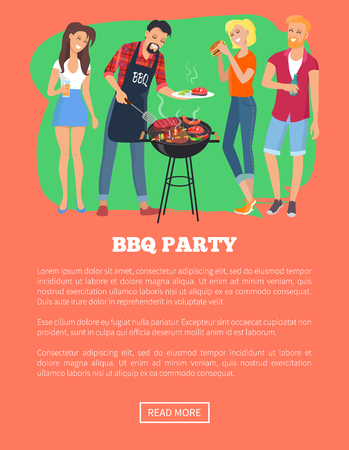 BBQ Party Web Page and Text Vector Illustration