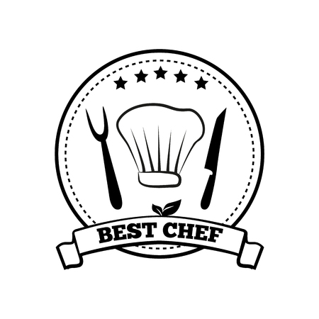 Best Chef Monochrome Round Emblem with Five Stars Stock Vector - 104041324