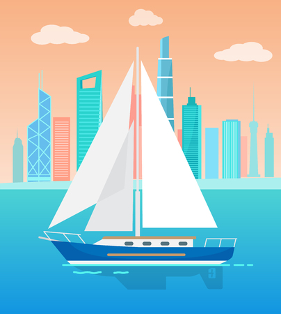 Big Sailboat with White Sails on Water Near City Illustration