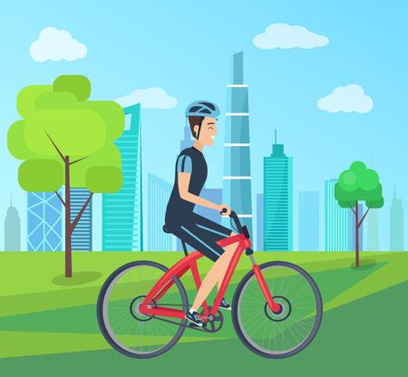 Man in Helmet Rides Bicycle through Green Park