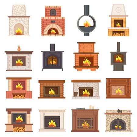 Luxurious Stylish Brick and Wooden Fireplaces Set